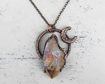 Raw Electroformed Angel Aura Citrine Crystal Point & Crescent Moon Lunar Witch Necklace/Pendant Copper