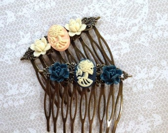 Combs Peach or Blue She Skull And Roses Bronze Comb