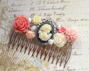 Hair Comb Cameo And Soft Pink Silver Tone Comb