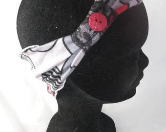 Ban023 - Headband in grey jersey nauve, red and black