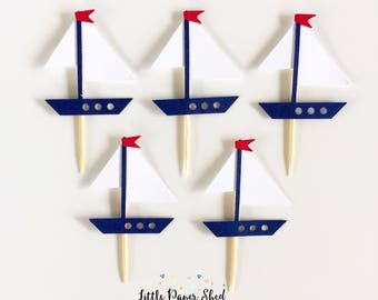 Handmade Cupcake Toppers - Nautical Sail Boat Theme x12