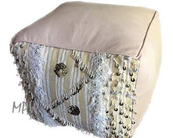 NEW COLLECTION-Square Handira  Leather Moroccan Pouf / Ottoman
