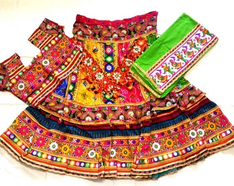 Navratri chaniya choli multi colour with embroidery work Lehenga Choli by Indian Designer.