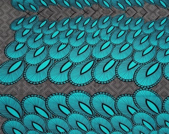 African Fabric / African Sewing Fabric / Vibrant Turquoise Peacock Feathers / African Prints & Designs / African Fabric BY THE YARD