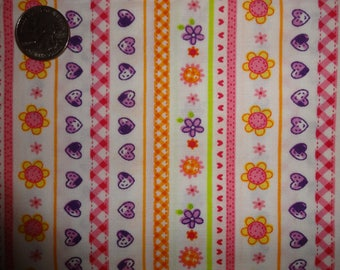 Hearts Flowers Stripes Pink Purple Check JoAnn Cotton Quilting Fabric 1 1/3 yard