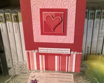 3D Handmade Greeting Card with Quote, 3D Greeting Card, Blank Card, Love Is Like the Sun, Red and Pink Card, Sweetest Day, Valentine's Day