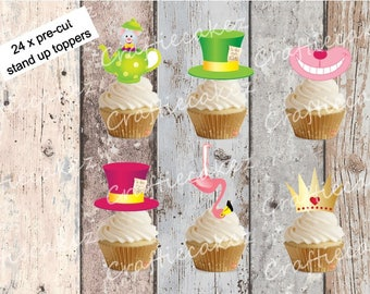 24 x Edible Pre Cut Mad Hatters Tea Party Stand Up Cupcake Toppers