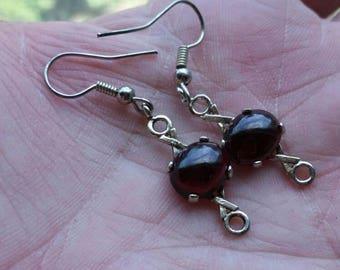 925 silver Red Glass XOXO Design Dangle Earrings