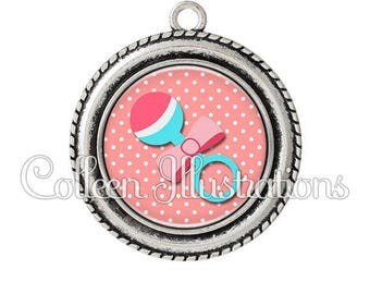 Pendant cabochons 25mm toy rattle baby child nanny - series 13