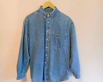Vintage 1990s blue denim shirt