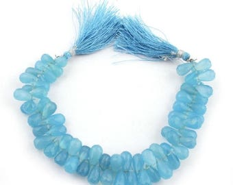 Mega Sale 1 Strand Blue Chalcedony Faceted Tear Drop Briolettes - Blue Chalcedony Tear Drop Beads 10mmx7mm-14mmx7mm 8.5 Inch Sb1530