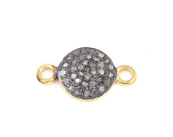 March Sale 1 Piece Pave Diamond Round Disc 925 Sterling Vermeil Double Bail Connector - Diamond Disc Connector 18mmx11mm  PDC463