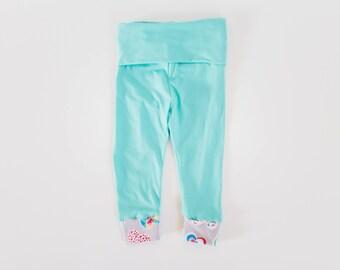 Aqua baby leggings gray heart cuffed leggings buttery soft size 6-9 months