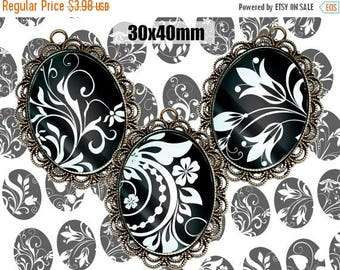 SALE 60% Digital Collage Sheet BLACK WHITE Floral 30x40 Printable Oval Download for pendants magnets Cabochons jewelry