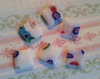 Square Glass White Millefiori Beads 12mm  6 beads