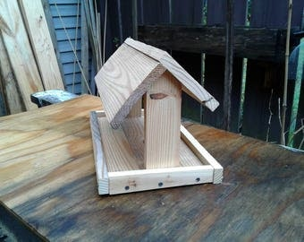 reclaimed wood bird feeder.