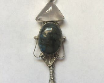 Labradorite Stone Wire Wrapped Spoon Necklace