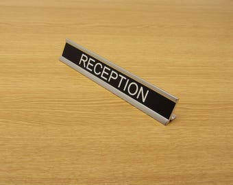"Engraved Desk Name Plate & Gloss Silver Holder 7"" x 1"" Sign - Office Hotel Hospital School"