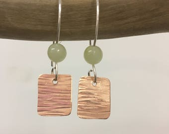 Copper and agate bead earrings