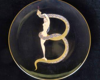 "Erte Alphabet Bone China Plate with Serpent Letter ""B"""