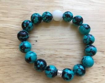 10mm Blue and white alabaster stretch bracelet 10mm