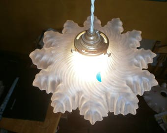 Original Vintage French light shade, Clear glass, pendant, ceiling, Art Deco, Antique fixture, Shabby/Chateau Chic, 1920's/30's