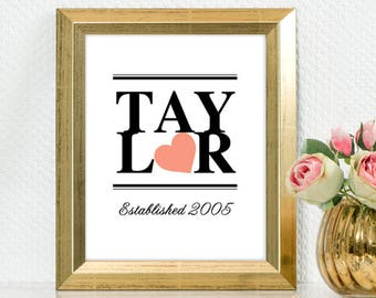 "Family Name Decor Sign, 5x7"" 8x10"" 11x14"" and 16x20"" avail., DIGITAL PRINTABLE FILE. Modern design, marriage year, established, heart"