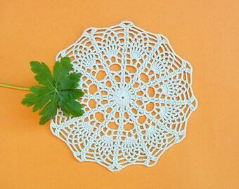 Crochet Doily, Mini Doily, Mint Doily, Small Doily, New Hand Crochet Doily, Round Doily, Crochet Lace Doily