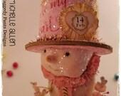 OOAK, Valentine, Paper clay, folk art, snowman,  hat, sculpt,  vintage, flowers, Tussie Mussie, Michelle Allen / Raggedy Pants Designs