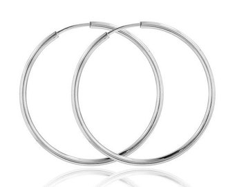 ON SALE Large hoop earrings, sterling silver