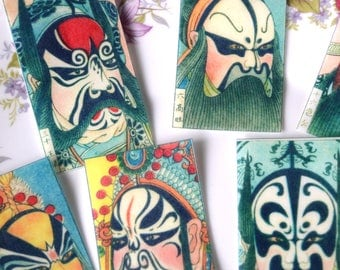Edible Chinese Opera Masks x 20 Wafer Rice Paper Vintage Beijing Art Peking Cake Decorations Halloween Warrior Cupcake Cookie Toppers