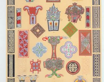 Owen Jones - The Grammar of Ornament - Stunning 1800s Lithograph - Celtic Art (P64)