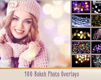 100 Bokeh lights Effect Photo Overlays, Gold, Photoshop, Overlays, Christmas lights, sparkles effect, Wedding Overlay, silver bokeh,light