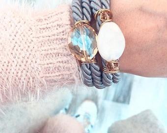 Grey and cream wrapover bracelet