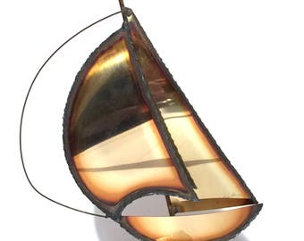John DeMott Brass Sailboat,Marble Base,Mid Century DeMott Signed Art