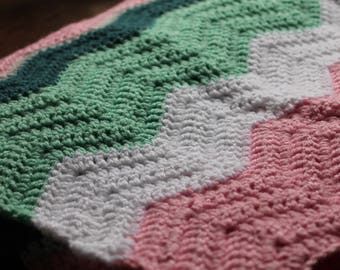 Crochet Chevron Girl Baby Blanket