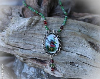 Red Robin in the Apple Orchard Necklace
