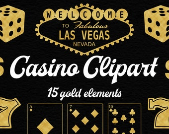 Casino Clipart, Gold Casino Graphics, 15 PNG Gold Foil Clip Arts, Playing Cards, Dices, Lucky Seven, Gamble Las Vegas, BUY5FOR8