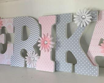 Wood letters, decorative letters, pink and gray for Erika, baby nursery letters, hanging wall letters, name letters, girls letters for baby