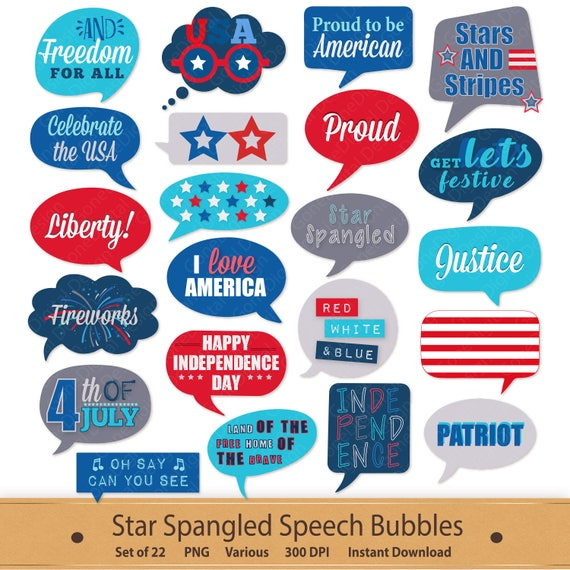 Speech Bubbles Star Spangled Digital Clip Art