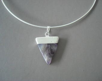 Amethyst pendant and silver plated brass nature jewelry