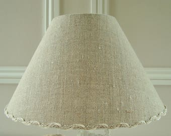 A natural French linen lampshade 16 x 25 cm / 6.2 x 9.8 ins for lamp base handmade in France choice of linen trim