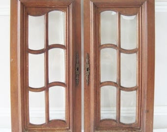 Bevelled glass doors, Pair antique doors, Beveled glass panels, Antique cupboard, Wooden doors, French furniture, Architectural salvage