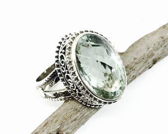Green amethyst ring set in sterling silver 925. Genuine natural checkerboard green amethyst stone. Size -8