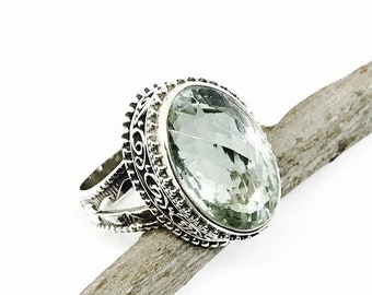 10% Green amethyst ring set in sterling silver 925. Genuine natural checkerboard green amethyst stone. Size -8
