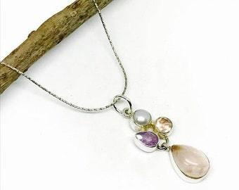 10% Rose quartz, amethyst, pearl pendant, necklaces set in sterling silver 925. Natural authentic stones. Length-1.37 inch.