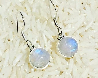 10% Rainbow moonstone earring set in Sterling silver 925. Length- 1/2 inch long. Natural authentic moonstones.