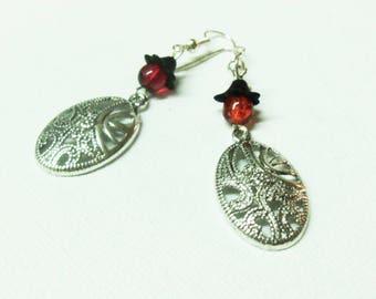 Oval prints earrings openwork pattern