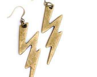 Bronze Bolt Angel Dangle Earrings