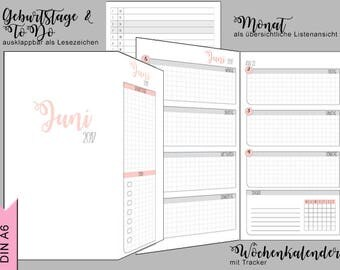 A6 calendar pads - 3 months - monthly & weekly overview, Tracker - can be folded out